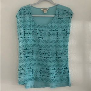 Lucky Brand Printed Sheer T